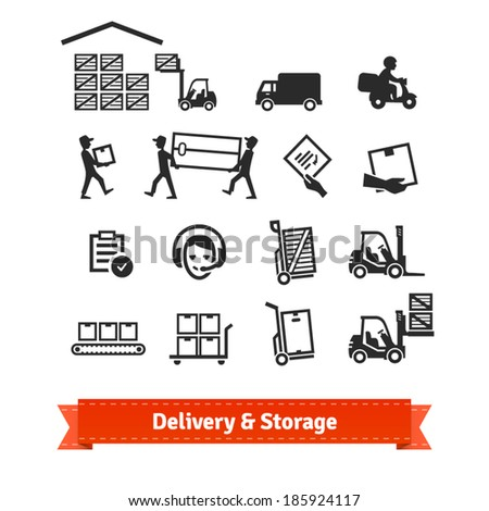 Delivery and storage icons set. EPS10 vector. - stock vector