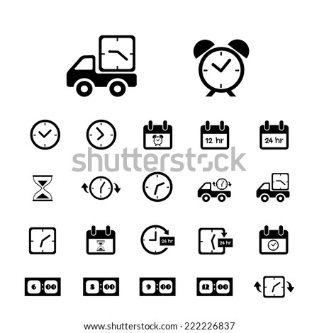 delivery and time vector icons set  - stock vector
