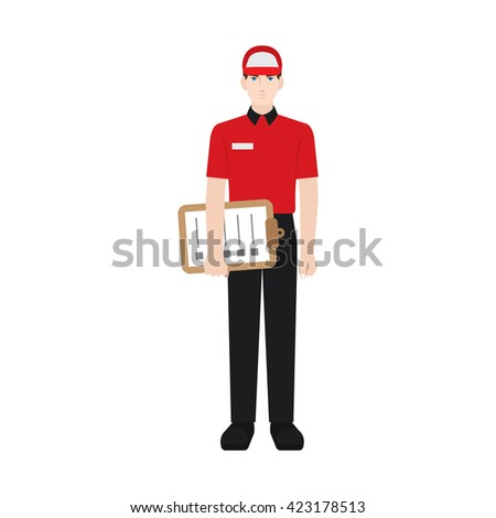 Delivery boy/ man vector illustration. Delivery courier holding check list, character isolated on white background. Front view. - stock vector
