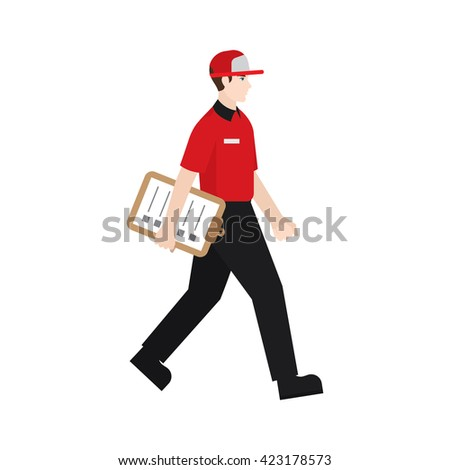 Delivery boy/ man vector illustration. Delivery courier holding check list, character isolated on white background. - stock vector