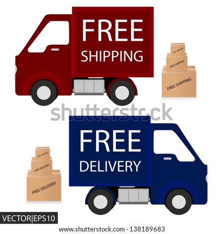 delivery car - stock vector