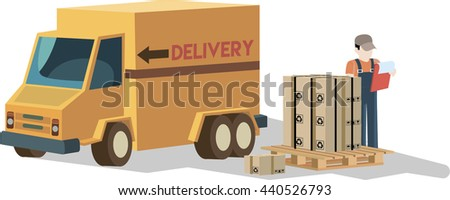 Delivery car and the worker who loads parcels flat illustration. - stock vector