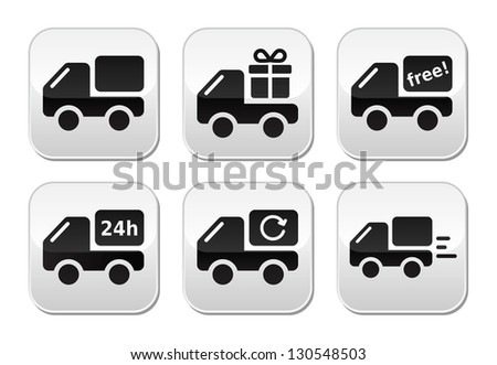 Delivery car, shipping vector buttons set - stock vector