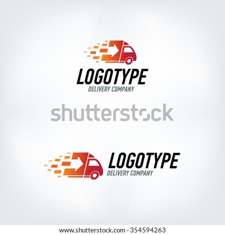 Delivery company logo. Fire logotype. Fast car.  - stock vector
