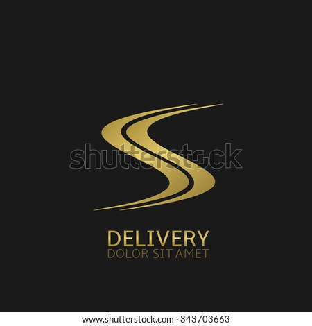 Delivery company logo. Golden road symbol, Vector illustration - stock vector