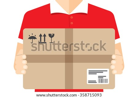 Delivery courier, background - stock vector