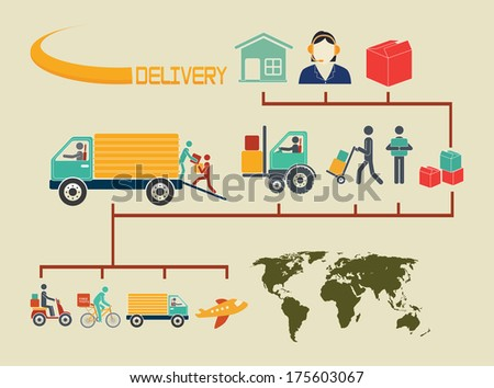 delivery design over  beige background vector illustration - stock vector