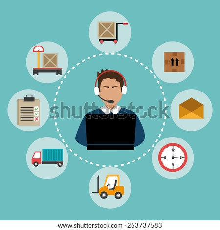Delivery design over blue background, vector illustration. - stock vector