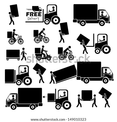 delivery icons over white background vector illustration  - stock vector