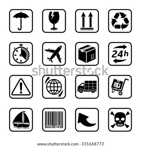 Delivery icons set - stock vector