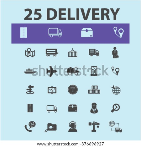 Delivery icons, shipping concept, delivery truck, logistics icons, delivery service, logistics concept icons  - stock vector