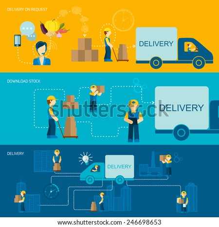 Delivery man banner flat set with request download stock elements isolated vector illustration - stock vector