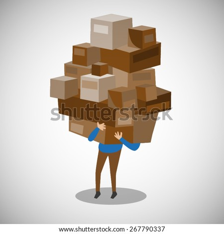 delivery man carrying box  - stock vector