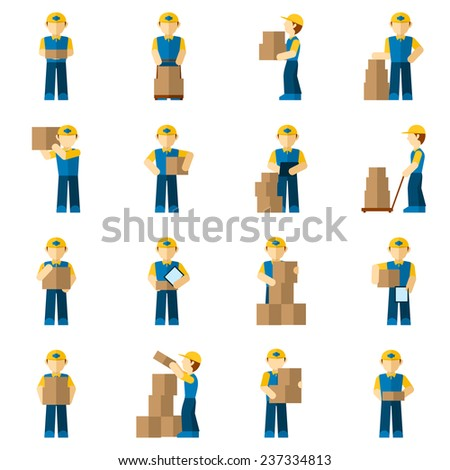 Delivery man courier person with carton boxes icon flat set isolated vector illustration - stock vector