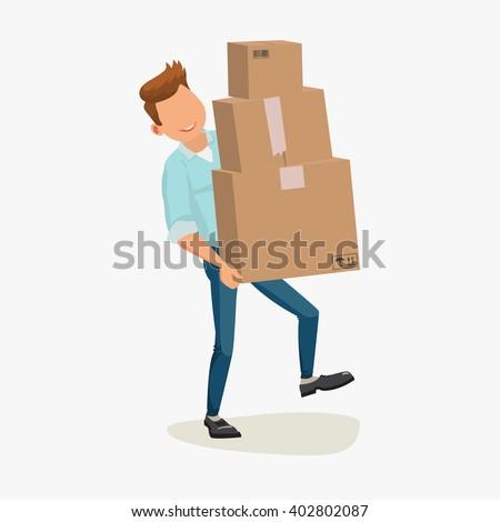 Delivery man, Delivery man vector, Delivery man image, Delivery man EPS, Delivery man JPG, Delivery man, Delivery man isolated on white, Delivery man, Delivery service. Delivery cartons, Delivery box - stock vector