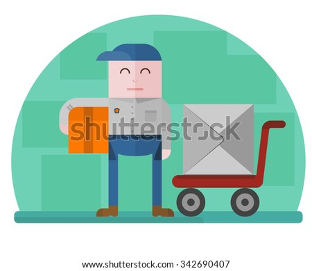 Delivery man holding a box with a hand truck on the background. Concept for delivery service.Flat design colored vector illustration. - stock vector