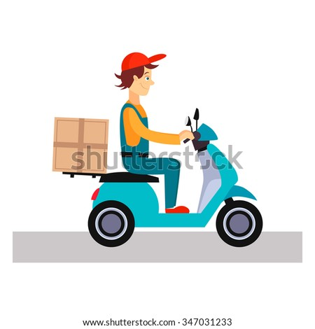Delivery Man on a Bike, Flat Vector Illustration  - stock vector
