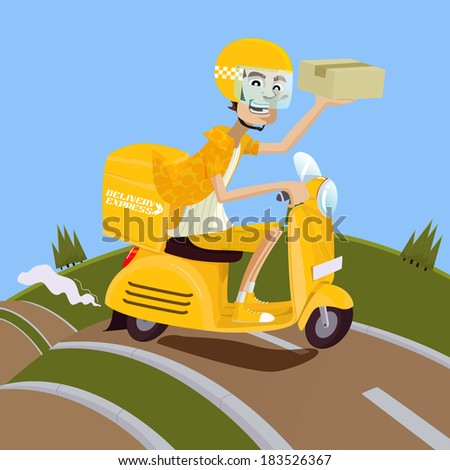 Delivery man riding yellow scooter - stock vector