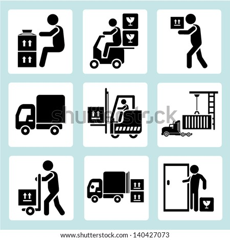 delivery man, shipping and loading icons set - stock vector
