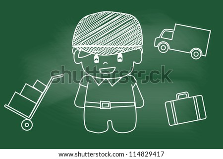 delivery man smiling on blackboard - stock vector