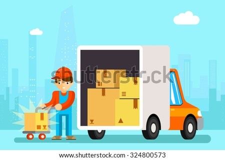 Delivery man unload delivery car boxes. Transportation cargo, cardboard and vehicle, vector illustration - stock vector