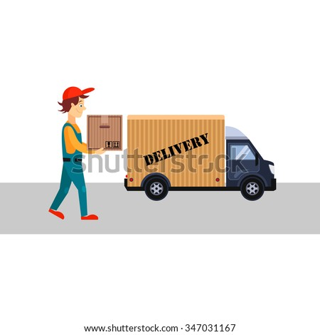 Delivery Man with a Box and Truck, Flat Vector Illustration  - stock vector