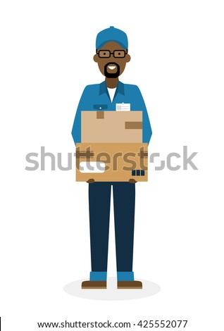 Delivery man with parcel. Fast transportation. Isolated african american cartoon character on white background. Postman, courier with package. Concept of online shopping and moving. - stock vector