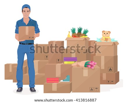 Delivery move service man holding Craft box with a lot of storage boxes. - stock vector