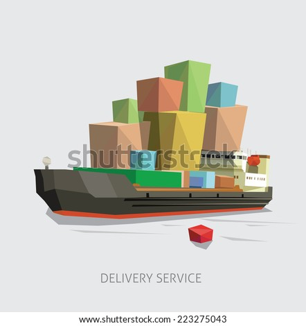 Delivery service by overloaded ship. Vector illustration. - stock vector