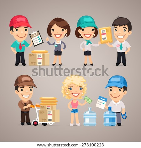 Delivery Service Characters Set. In the EPS file, each element is grouped separately. - stock vector