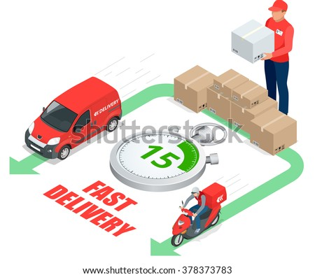 Delivery service concept, Fast delivery car, fast delivery motobike, delivery man, Delivery Vector, Delivery  3d, Delivery  isometric, Delivery  illustration, Delivery isolated, Delivery icon - stock vector