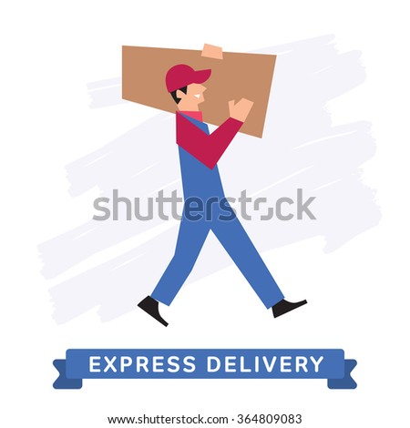 Delivery Service, Delivery into the hands. Delivery icon, delivery man. Delivery Order. Delivery man in overalls. Vector delivery illustration. Abstract Delivery situation.  - stock vector