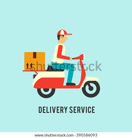 Delivery service illustration. Courier on scooter with parcel - stock vector