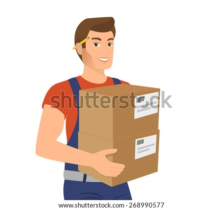 Delivery service man with two boxes in his hands - stock vector