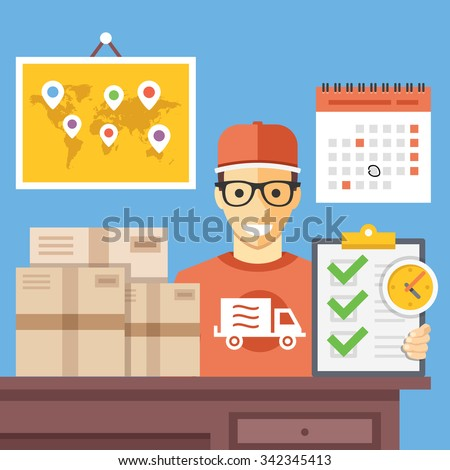 Delivery service office. Shipping company employee at work. Post office interior. Creative flat design concepts for web banners, web sites, infographics. Flat vector illustration. Blue background - stock vector