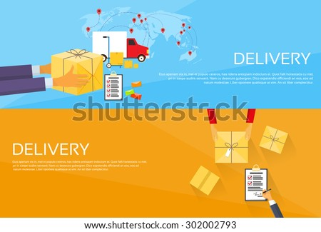 Delivery Service Package Box Receiving Courier Hands Customer Web Banner Set Flat Vector Illustration - stock vector