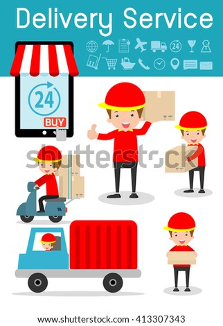 delivery service, set of delivery man, modern design flat character people, delivery business concept, transportation Vector Illustration. - stock vector