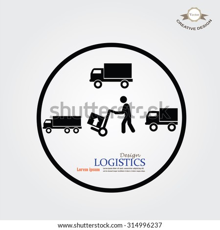delivery services symbol on gray background.man icon with trolley and truck.vector illustration. - stock vector