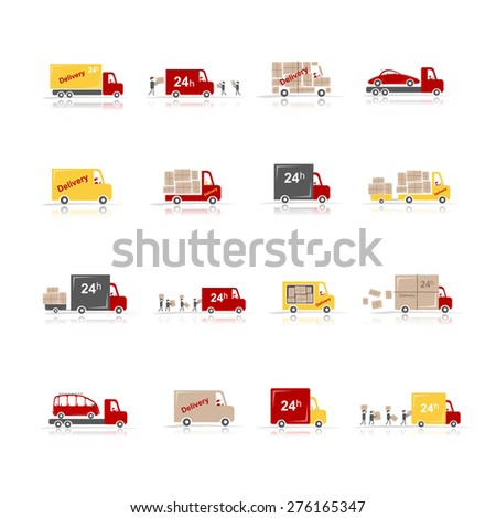 Delivery, set of 16 cars for your design. Vector illustration - stock vector