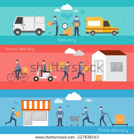 Delivery shipping banner set with food home store services isolated vector illustration - stock vector