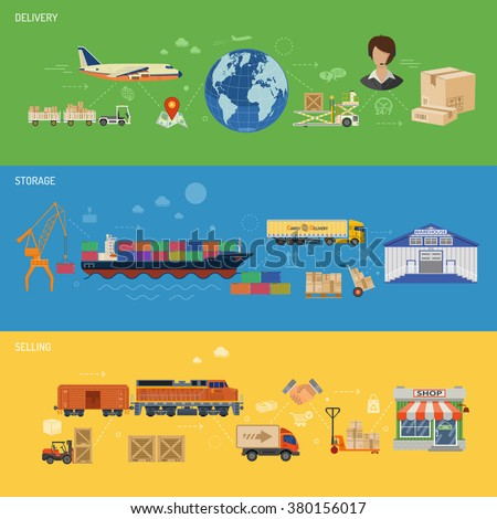 Delivery, Storage, Logistics and Selling Horizontal Banners with Cargo Ship, Truck, Warehouse, Shop, Forklift,  Train and Car in Flat style. Vector for Web Site and Printing Advertising. - stock vector