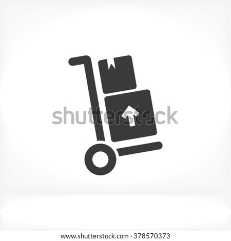 Delivery trolley Icon, delivery trolley icon flat, delivery trolley icon picture, delivery trolley icon vector, delivery trolley icon EPS10, delivery trolley icon graphic, delivery trolley icon object - stock vector