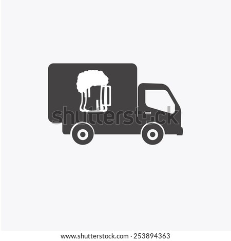 delivery truck beer over white color background - stock vector