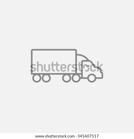Delivery truck line icon for web, mobile and infographics. Vector dark grey icon isolated on light grey background. - stock vector
