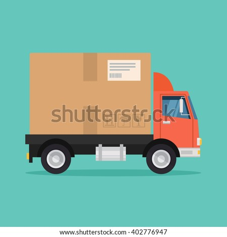 Delivery truck vector illustration. Delivery service concept. Delivery truck in flat style. Postal service icon. Delivery box truck. Fast delivery of goods. Delivery van design.  - stock vector