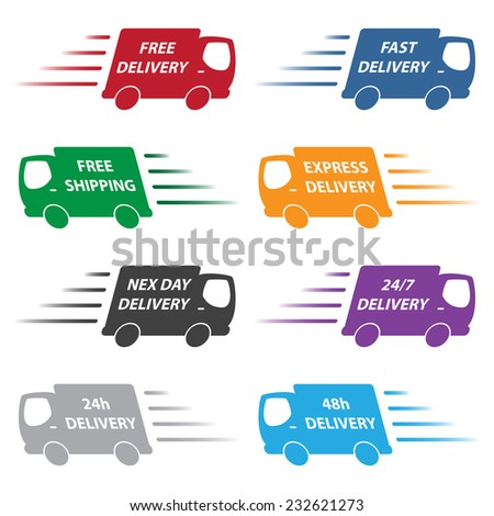 delivery trucks - stock vector