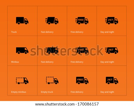 Delivery Trucks icons on orange background. Vector illustration. - stock vector