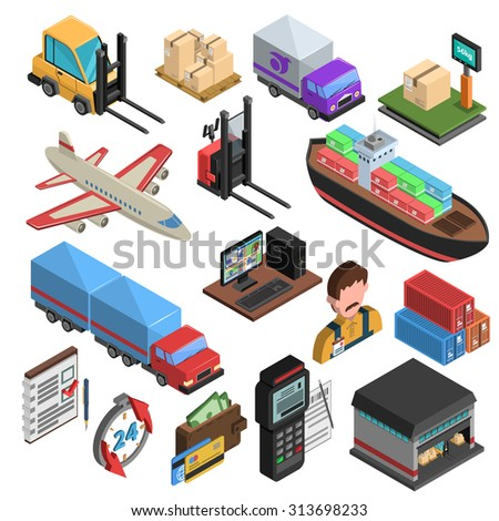 Delivery types and logistic chain isometric icons with loader truck ship aircraft container warehouse weighing machine isolated vector illustration - stock vector
