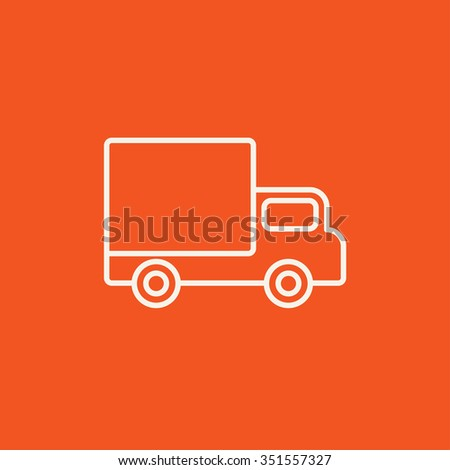 Delivery van line icon for web, mobile and infographics. Vector white icon isolated on red background. - stock vector