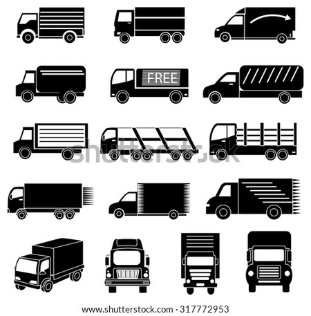 Delivery vehicles icons set - stock vector